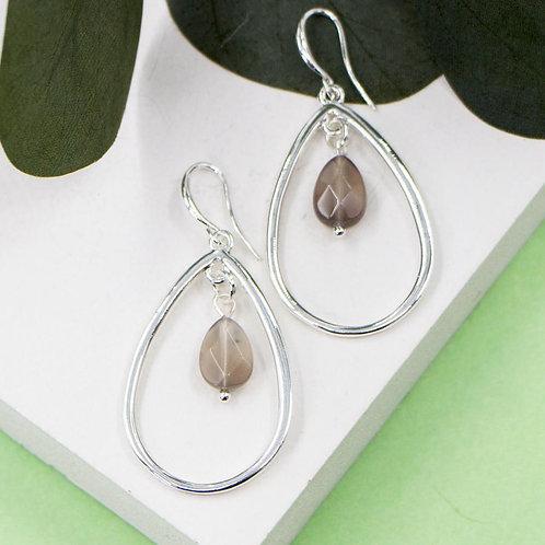 Open Tear Drop Shape Earrings with Grey Agate Bead