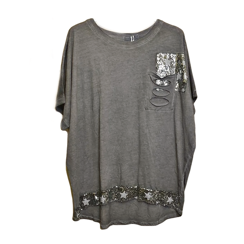 Vintage Wash Top with Ripped Pocket Detail in Grey