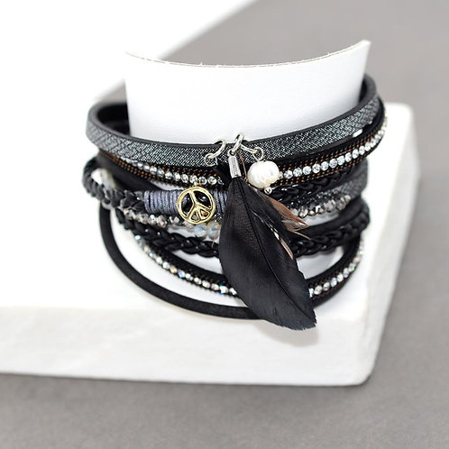Multi Strand Bracelet with Feather Charm with a Magnetic Clasp