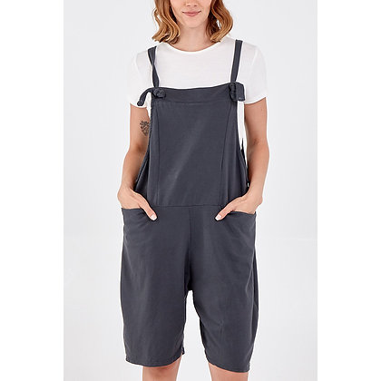 Knee Length Dungarees in Charcoal