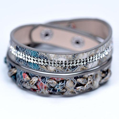 Wraparound Bracelet with Crisscross & Crystal Details