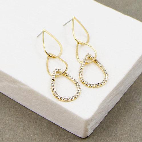 Open Teardrop Shape Earrings with Crystal Detail in a Gold Finish