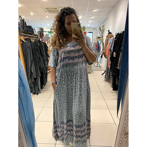 Summer Dress with Floral Border in Grey