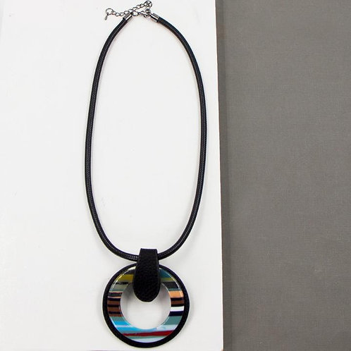Contemporary Multi Coloured Necklace with Detachable Pendant Brooch