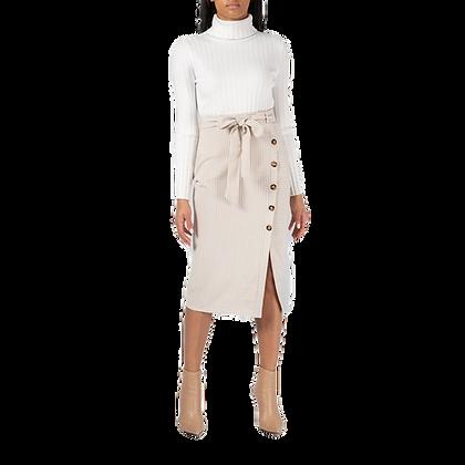 Stripe Button Skirt