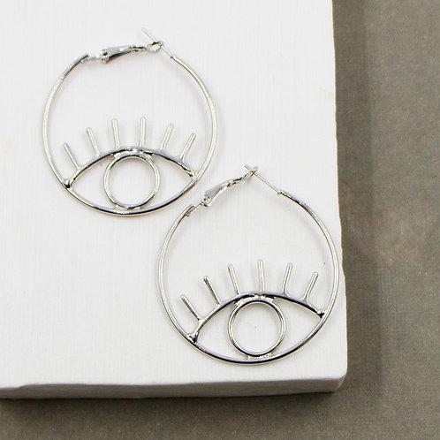 Eddgy Eye Motif Hoop Earrings