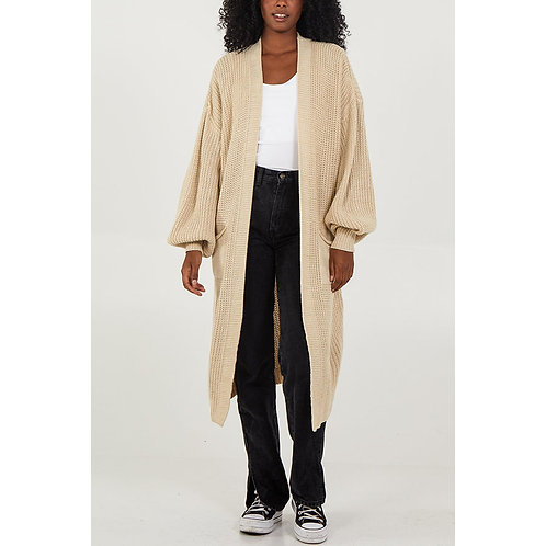 Edge To Edge Knitted Long Cardigan in Stone (Front View)
