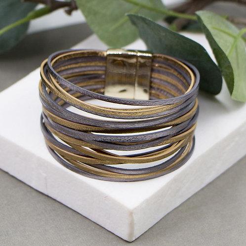 Multi Strand Simple Metallic PU Bracelet with Magnetic Clasp