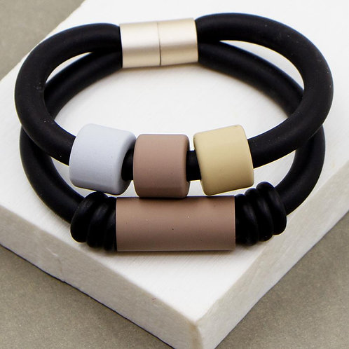 Double Strand Neoprene Bracelet with Muted Matte Elements and Magnetic Clasp