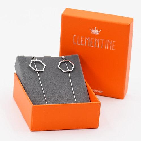 Hexagon Shape Stud Earrings with a Long Drop Chain Sterling Silver