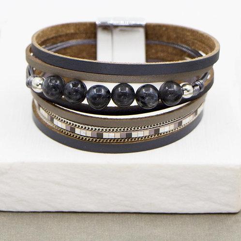 Multi Strand PU Bracelet with Amazonite Beads in Grey