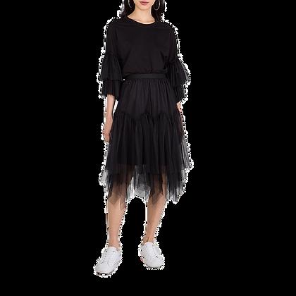 Zigzag Hem Net Midi Skirt