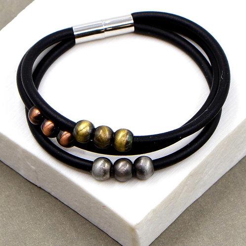 Multi Strand Neoprene Bracelet with Metallic Beads