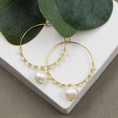 Hoop Earrings with Entwined Mini Pearls and a Pearl Drop Feature