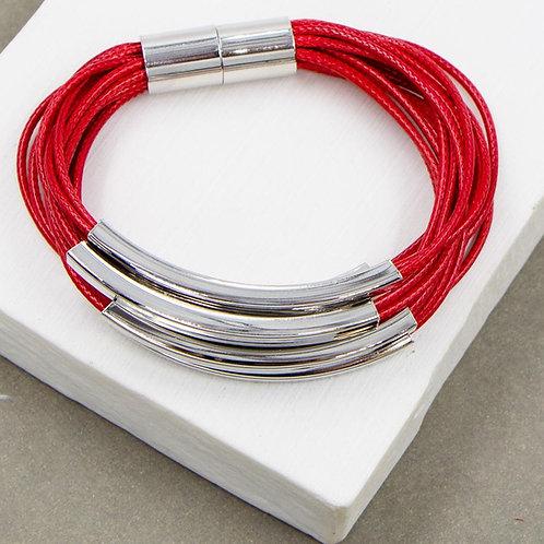 Multi Strand Wax Cord Tube Bracelet in Red