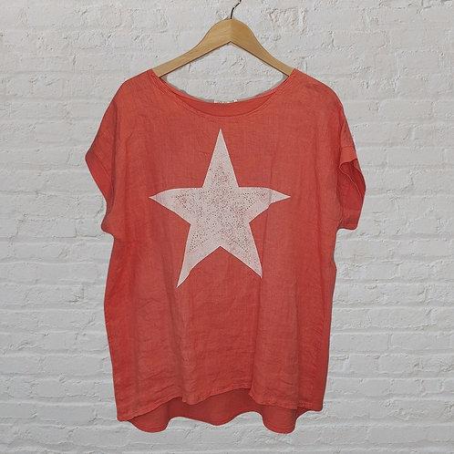 Linen Front Jersey Back Star Print Top