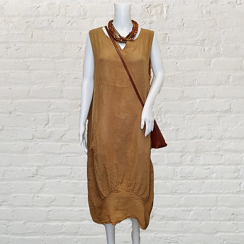 Italian Ribbed Panel Linen Dress in Caramel @ Remona