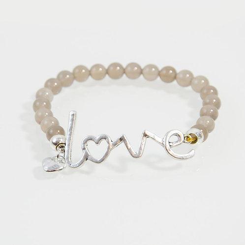 'Love' Stretchy Agate Beaded Bracelet