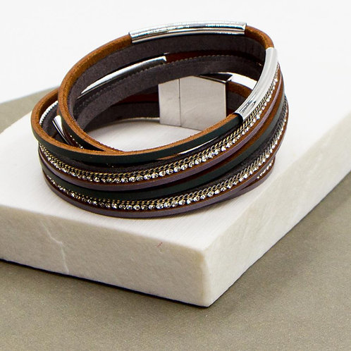 Two Tone PU Wrap Bracelet with Magnetic Clasp