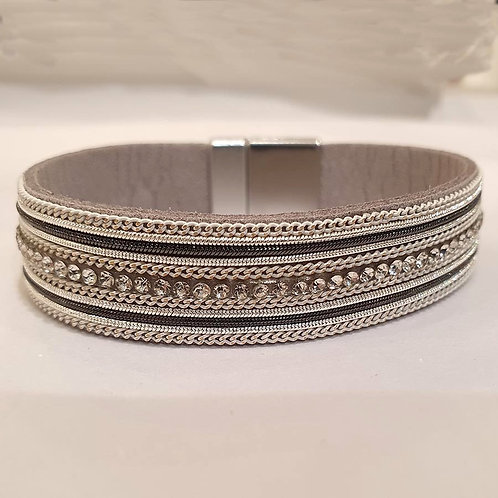Single Strap Embellished Bracelet in Grey with a Magnetic Clasp