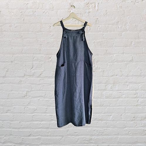 Italian Linen Pinafore Dress in Blue