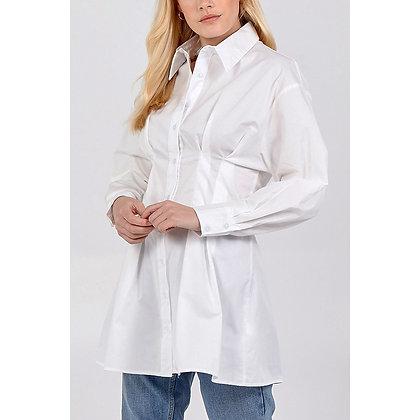 Clinched Waist Long Shirt