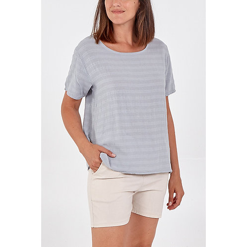 Scoop Neck Side Button Top in Grey Front View