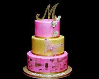 Gold and pink three tier Fondant monogram bat mitzvah cake