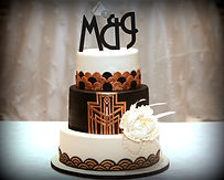 Art Deco Great Gatsby 3 Tiered Black and white Fondant Cake with Monogram Initials, Bow, feathers