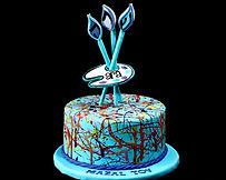 Personalized Painter's Pallet Fondant Cake