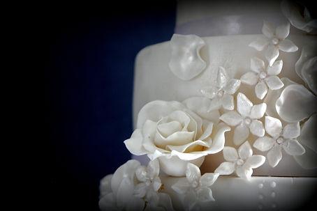 Floral three tiered Fondant Wedding Cake