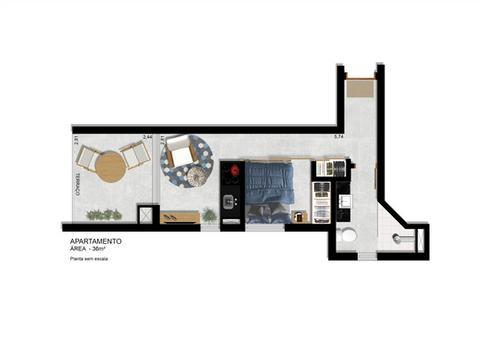 Planta Apartamento 36m² com terraço integrado