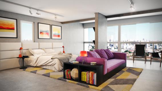 Perspectiva Junção - com terraço integrado à sala