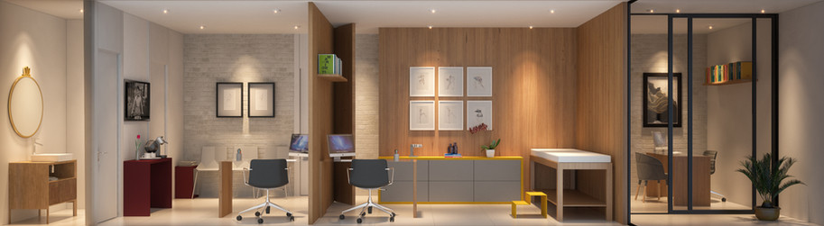 Perspectiva Consultório Médico 49 m²