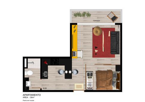 Planta Apto 38 m²