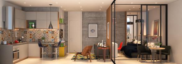 Perspectiva Apto 35 m²