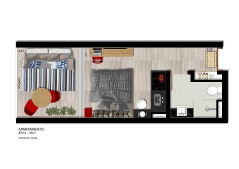 Planta Apartamento 25m² com terraço integrado