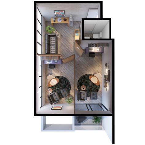 Planta em Perspectiva Consultorio Psicologia 38 m²