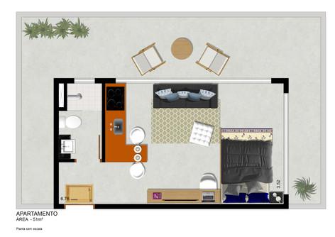 Planta Apto 51 m²