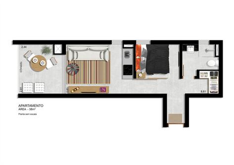 Planta Apartamento 38m² com terraço integrado