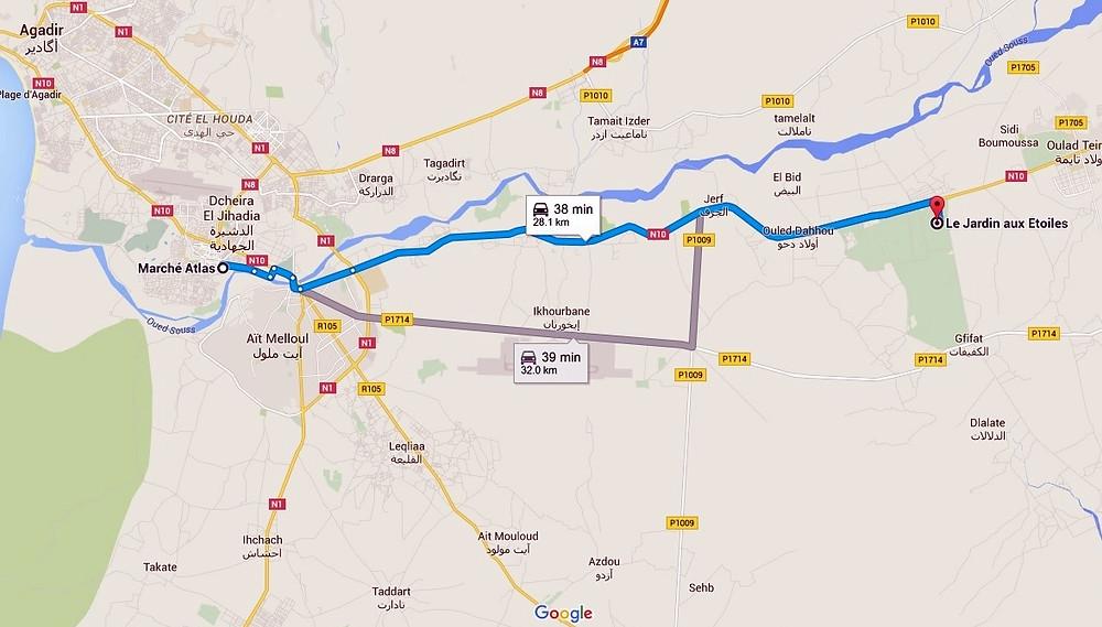https://www.google.ch/maps/dir/March%C3%A9+Atlas,+Inezgane,+Maroc/Le+Jardin+aux+Etoiles,+Maroc/@30.3536345,-9.4706517,12z/data=!3m1!4b1!4m14!4m13!1m5!1m1!1s0xdb3c7e4fa597fc9:0x1bd2e115afad937c!2m2!1d-9.5317152!2d30.3553907!1m5!1m1!1s0xdb3d9f066b376ad:0x8cf615d81ad16664!2m2!1d-9.270037!2d30.369606!3e0
