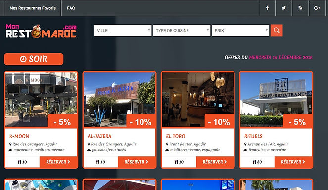 Un site pour obtenir des rabais de 5 à 15 % dans les restaurants d'Agadir et Marrakech