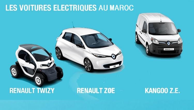 Voitures Renault électriques au Maroc : la Twizy, la Zoé et la Kangoo.