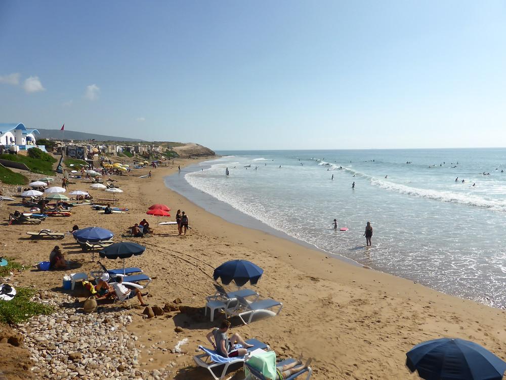 Plage d'Imourane, paradis des surfeurs et des nageurs.