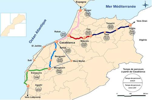 Le TGV doit être prolongé de Casablanca à Marrakech, puis de cette ville à Agadir, via Essaouira.