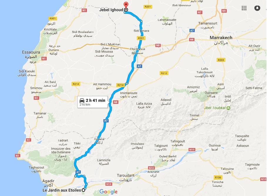 2  h 41 de route entre notre riad et le Jebel Ighoud