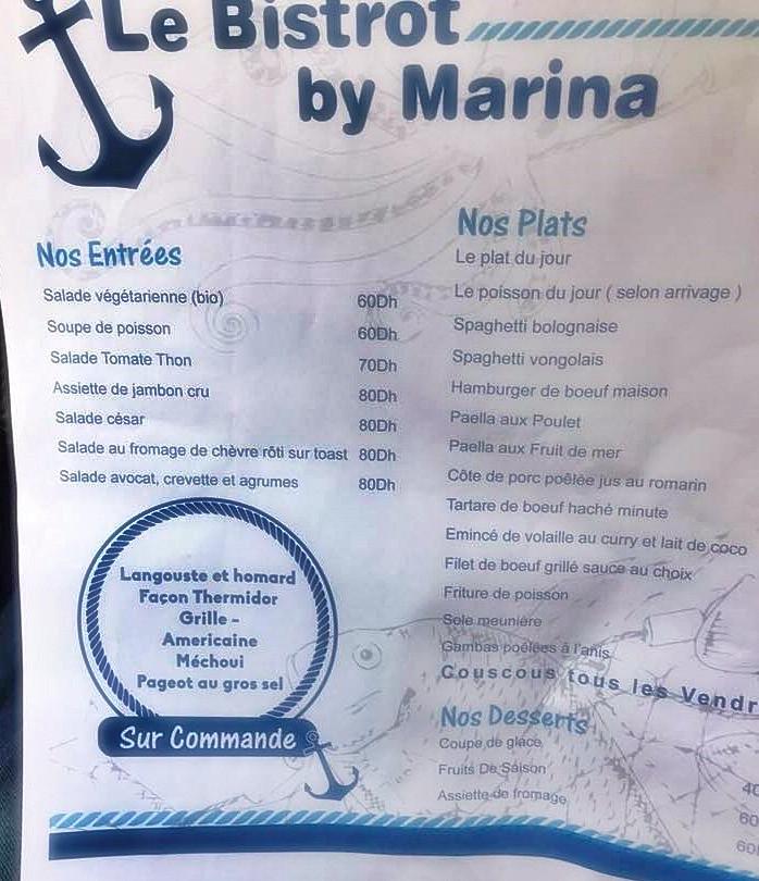 La carte du Bistrot by Marina