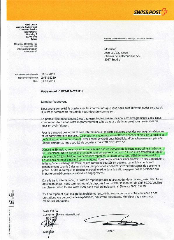 La Poste suisse confirme qu'on ne peut pas faire confiance à Poste Maroc
