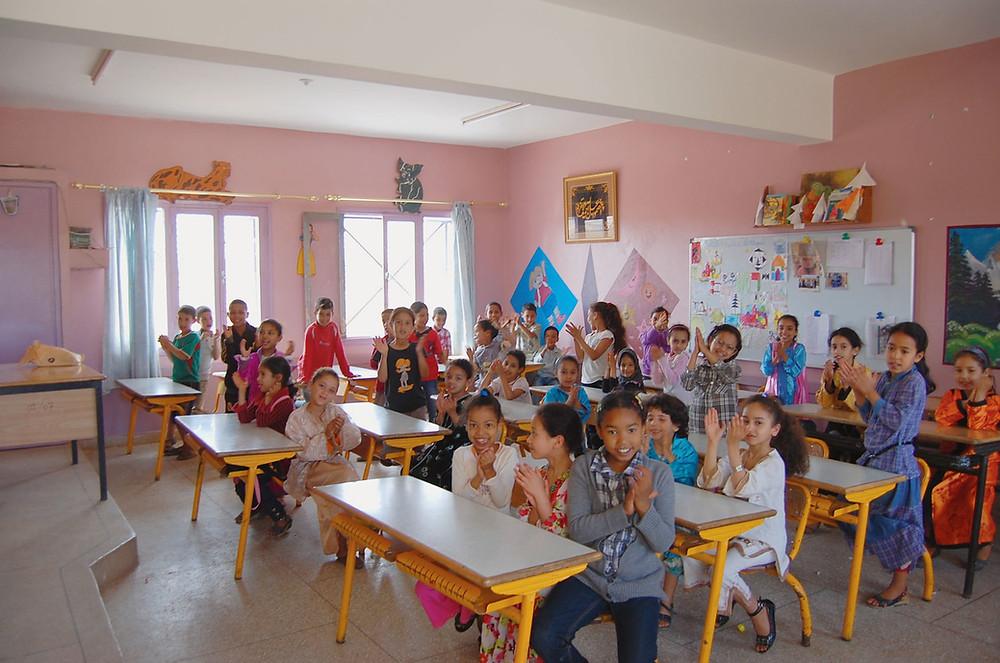 Classe de l'école d'El Biguiriyine, dans la banlieue de Casablanca.