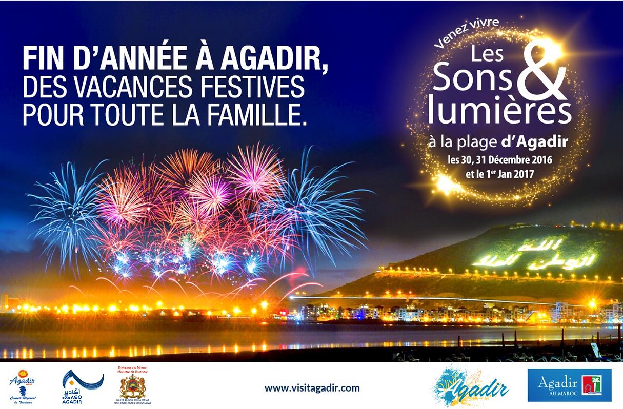 Plage d'Agadir : fin d'année 2016 en forme de feux d'artifice et de fantasias